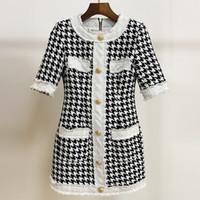 223 2021 Milan Tarzı Pist Elbise Marka Aynı Stil Elbise Kısa Kollu Tüvit Ekip Yeni Ekose İmparatorluğu Moda Bayan Elbise Meiyi