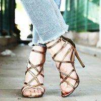 샌들 여름 여성 크로스 넥타이 스트랩 웨딩 펌프 여성 Sandalias 검투사 로마 파티 드레스 신부 신발 11.5cm 높은 heels1