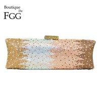 Boutique de FGG Elegante Frauen Lange Abend Taschen und Kupplungen Abendessen Kristall Clutch Geldbörsen Braut Strass Handtaschen C0121