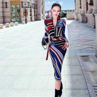 2020 Новое Осеннее платье A-Line Skyt Wirt Печать на молнии Длинное платье платье с длинным рукавом
