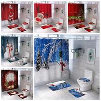 عيد الميلاد مطبوعة للماء الحمام دش الستار السجاد الكلمة حصيرة مزيج حمام حمام مقعد المرحاض دش دش مجموعة WQ67-WLL