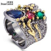 DreamCarnival1989 Esagerato personalità anello colorato zircone per le donne monili di fidanzamento di nozze anelli di design spessore anelli WA11757 2012181818