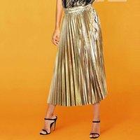 المرأة المعدني اللون لامع تنورة خمر مطوي خط الليزر الذهب والفضة عاكس قلم رصاص تنورة مرونة الخصر التخسيس faldas
