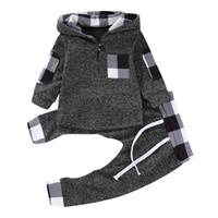 Çocuk Eşofman Bebek Erkek Kız Sonbahar Kış Uzun Kollu Kapşonlu Tops Hoodie Kazak Pantolon Tayt Tops İki Adet Oufits Spor Takım E121604