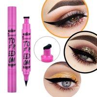120 pcs chaud 2in1 noire crayon tampon de maquillage de maquillage de maquillage liquide stylo étanche imperméable rapide à double tête à double tête maquillage cosmétique
