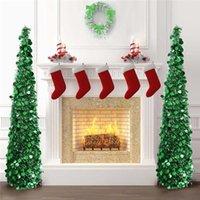 1.5M Складная Искусственная рождественская елка Мишеневые блестки всплывающие дерево с подставкой Новогоднее Новогоднее рождественское украшение