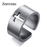Cluster Rings Zorcvens 2021 Vintage Hollow Cross Ring voor Mannen Speciale Oppervlakte Afwerking Roestvrijstalen Open vinger Band Mannelijke Retro Sieraden