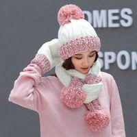 Natale regalo fiocco di neve beanie carino inverno lana cappello cappello sciarpa guanti tre pezzi versione coreana della tendenza del selvaggio dolce calda a maglia ooe3253