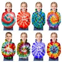 3D Cravate Tye-colorant imprimé Junior's Sweats à capuche colorée Gyrate en vrac à manches longues à manches longues Sweatershirt garçons Filles Casual Sweatshirts 90-160CME121403