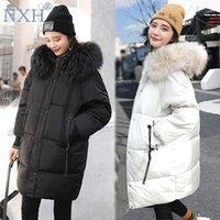 NXH Tamaño grande para mujer Chaqueta gruesa de invierno con piel con capucha con capucha Lady abrigo largo Tallas de mujer Ropa de mujer Parka 100kg Solidura sólida1