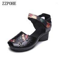 ZZPOHE Yaz Ayakkabı Yeni Moda Kadınlar Büyük Boy Balık Ağız Sandalet Kalın Kadın Nefes Siyah İş Sandalet Kadın Sexy1