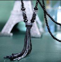 크리스탈 긴 체인 목걸이 술 목걸이 웨딩 쥬얼리 선물 여성용 Tassel Chokers PS0957