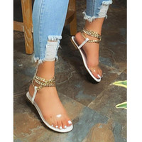 2021 Summer New Style Sandales plates Fashion Solide Color Chain Open Toe Outdoor Femmes Chaussures Plus Taille 43