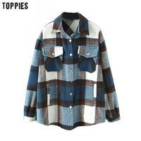 Toppies vintage azul xadrez longo casaco casaco bolso casual casual sobretudo de moda outwear mulheres outono tops 201026