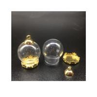 100 set da 20 * 15mm Globes di vetro con metallo rame impostazione di rame base perline tappo set flippine pendente wishing vetro bottiglia gioielli sqcasr