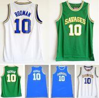 "NCAA Mens Savages 10 Dennis Rodman Jeresy Beyaz Yeşil Mavi Kolej Üniversitesi Formalar Dikişli ""Solucan"" Dennis Rodman Jersey"