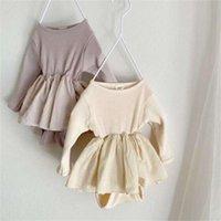Faltyjous Otoño Body Falda Uniforme algodón acanalado Mono de punto Baby Boys Girls Ropa 201216