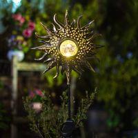 Sol solar luces jardín al aire libre impermeable estacas decorativas de metal para pasarela patio patio jardín decoración de jardín dec323