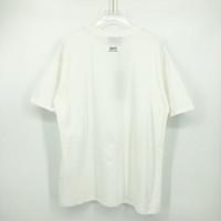 Primavera Verão Europa EUA Backside Mini Logotipo Reflexo Tee Skate High Street Wear Tshirt Mulheres Mulheres Manga Curta Moda Camiseta