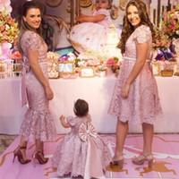 2021 neue Mutter und Tochter staubige rosa volle spitze mädchen pageant kleider prinzessin baby mädchen kleidung kinder blume mädchen kleid geburtstagskleider