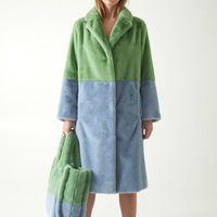 Piel de mujer Faux abrigo de invierno mujeres cálidas vellón grueso chaqueta larga de oveja cizalla exterior prendas de exterior femenino retro delgado doble cara sobrecarga 1