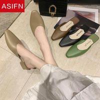 Asikunft Frauen Hausschuhe Marke Designer Slip auf Maultieren Flache Ferse Casual Schuhe Britische Schnalle Slides Holz Block Sommer Outdoor11