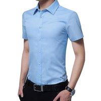 Einfache Design Solide Farbe Männer Kurzarm Casual Hemden Mode Sommer Baumwolle Slim Fit weißes Kleid Hemd 5XL