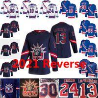 2021 Reverse NY New York Rangers Alexis Lafreniere Kaapo Kakko Artemi Panarin Henrik Lundqvist Mika Zibanejad Home Away Blue Hockey Trikots