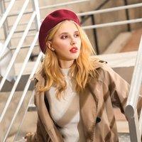 مصمم أزياء الشتاء الدافئة الصوف قبعة قبعة النساء الكشمير القبعات الفتيات التحوط كاب سيدة بلون الصلبة slouchy بيني للإناث