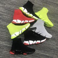 Novos Luxurys Designers Sapatos Homens Velocidade Mid-top Trainer Sock Sock Sapatilhas Botas Femininas Bottoms Sneaker Speed Speed Trainer Men Shoes Runner ao ar livre