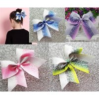 Новый Glitter Ombre Cheer Blue Sier Corlading Dance Hair Bow 7.5inch с эластичной резинкой