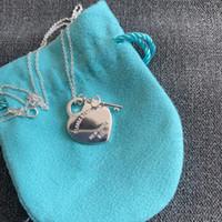 الأصلي 925 الفضة الحب قلادة سحر القلب قلادة قلادة 1: 1 مفتاح المرأة diy القلب سحر مجوهرات هدية الترقوة سلسلة Q0127