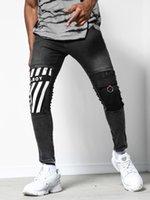 2020 Novos Jeans Mens Skinny Rasgado Destruído Estiramento Slim Fit Hop Hop Calças Cool Designer Marca Lápis Homens Impresso Calça Jeans 4xl Z1216