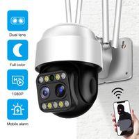 Câmeras 1080P Lente Dual Lente Sem Fio Sem Fio Câmera PTZ Velocidade Dome Externa WiFi Street Vídeo IP CCTV P2P Motion Alert IP66
