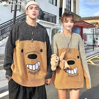 Zazomde Funny Bear Oversize Men 2020 Winter High Streetwear Moda Mens Pullovers Cuello redondo Vintage Pareja Suéteres