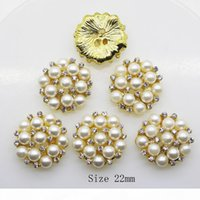 50 pcs 22mm rodada strass botão de pérola decoração de casamento DIY fivelas acessórias prata dourada