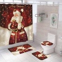 سانتا نمط ماء النسيج الستائر الحمام مرح عيد الميلاد دش الستار المضادة للانزلاق حمام حصيرة مجموعة المرحاض مقعد غطاء carpet1