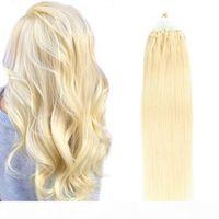 0,5 г S 100 Strand Силиконовые микросистемы для волос для волос # 60 ПРЯМЫЕ REMY Человеческий петли для волос Micro Rig Platinum Blonde Натуральные человеческие волосы 16-22
