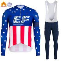 Inverno ciclismo Jersey Set 2021 Pro Team EF Fleece Fleece Abbigliamento da ciclismo Super Caldo Manica lunga Bicycle Uniform Bib Pants Tuta