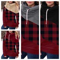Kadın Tasarımcı Giysi Uzun Kollu Ekose Kapşonlu Sweatershirt Kazak Hoodie Tops Moda Patchwork Renk Rahat Spor Kazak E111604