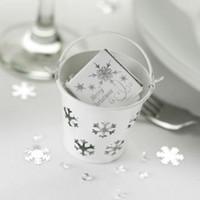 100pcs creux de flocon de neige romantique BLANC TIN PARCHÈNES MINI SEAUT favorisez des boîtes de bonbons Mini seau Boîtes de bonbons, emballage de bonbons