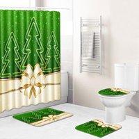 Zeegle Ванная Комплект ковров для ванной комнаты Рождественский стиль Душевая занавеска для ноги коврик для ноги водонепроницаемый туалет без скольжения впитывающий коврик