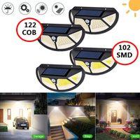 122 102 LED ao ar livre luz solar pir movimento sensor de parede lâmpada impermeável lâmpada solar levou jardim ao ar livre caminho de parede