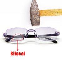 Мужчины Женщины Очки для чтения Rimless Bifocal Далеко возле анти синего света Увеличение Очки Пресбиопические очки DioPter +150 TR90