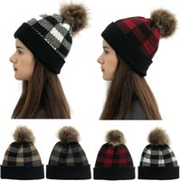 2020 New Wool Hat Christmas Check Detachable Wool Ball Curli...