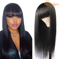 Human Hair Wigs With Bangs For Women Natural Color Brazilian...