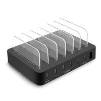 빠른 충전 QC 3.0, 가장 빠른 6 포트 도킹 스테이션, 여러 장치, 전화, 태블릿을위한 USB 충전 스테이션이있는 충전 스테이션