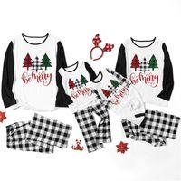 Rodzic-dziecko Christmas Rodzina Piżamy Zestawy Kobiety Mężczyźni Kids Baby Construman Color Xmas Drzew Koszulki Topy i Spodnie w kratę Garnitur F120301