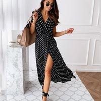 Sexy V-Ausschnitt Polka Dot Printing Split Midi-Kleid für Frau Sommer Mode Plus Size Böhmischer Strandurlaub Lange Kleider Q0111
