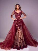 Nouvelle robe de soirée Bourgogne Train détachable Train à manches longues Dubaï Kaftan Saoudien Arabe Saoudie Élégante robe formelle Muslim Robe de Soirée
